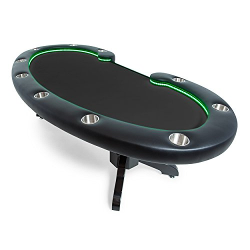 BBO Poker Lumen HD Lighted Poker Table for 10 Players with Black Felt Playing Surface, 101.5 x 46-Inch Oval