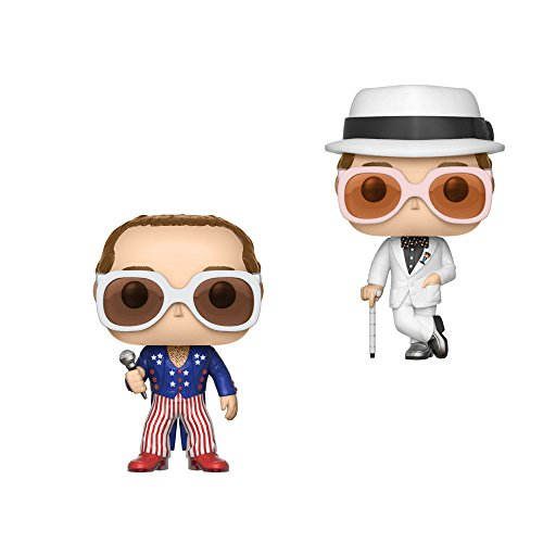 Funko Pop Rocks Series 3 Elton John (Greatest Hits) and Elton John (Red White Blue) Vinyl Figures Set