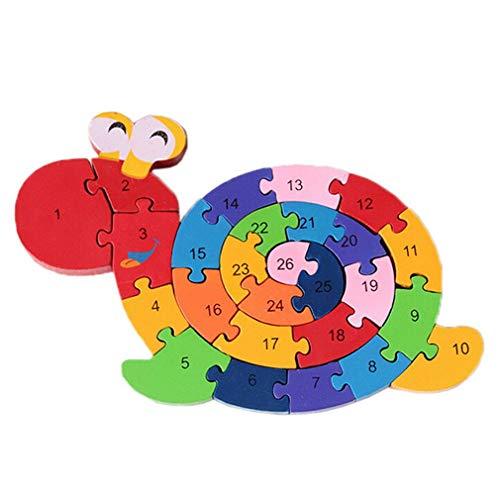 Bigood Jouet Bébé Enfant Puzzle en Bois Alphabet Chiffre Préscolaire Escargots Cadeau