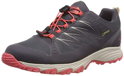 The North Face W Venture Fastlace GTX, Zapatillas de Senderismo para Mujer, Black (Blackend Pearl/Fiesta Red Dc0), 36 EU