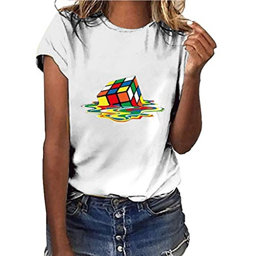 Riou Amantes Spring Verano Tamaño Grande Manga Corta Cuello Redondo Camiseta Estampado de Cubo de Rubik T-Shirt Tops Casual Fiesta Original Blusa