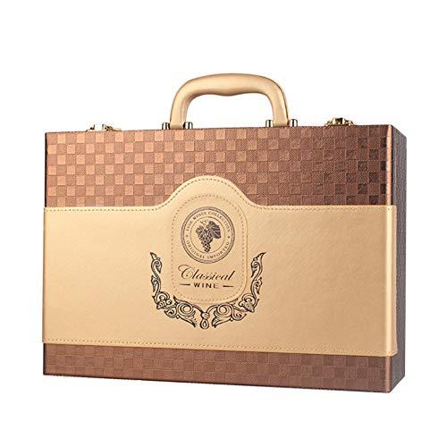 Wein Geschenkbox Tragbare klassische große Weinbox mit Verschluss oben Griff für 2 Flasche PU Leder Reise Weinkoffer Rotwein Champagner Lagerung Geschenk Verpackung Box für Party Zeremonie Housewarmin