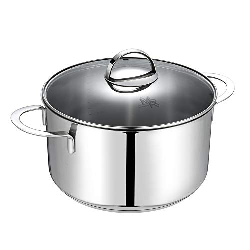 Mr Rudolf 5 Quart Dutch Oven With Glass Lid - Nickel Free 18/10 Stainless Steel Stockpot With 2 Handles,Dishwasher Safe Stock Pot 5 Qt Cooking Healthy Cookware