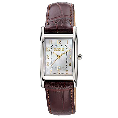 Dugena Damen Quarz-Armbanduhr, Saphirglas, Lederarmband, Quadra Artdéco, Braun/Silber, 7000162-1