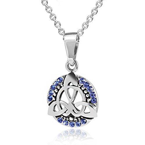 MATERIA Schmuck Anhänger Keltischer Knoten mit blauen Zirkonia inkl. Halskette - 925er Silber Schmuckset #KA-35_K97-45