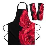 Coner Rose Flower Delantal Rojo para Mujer Cocina Delantal para el hogar Cuff Oven Mitts Work Coffee Restaurant Delantal Set, Delantal Cuff Set M