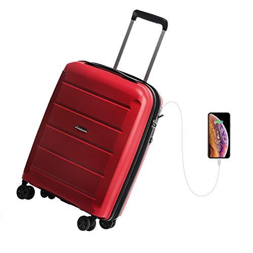 REYLEO Valigia Rigida da Viaggio con Porta di Ricarica USB 100% PP di Trolley con Lucchetto TSA Bagaglio a Mano con 4 Ruote Silenziose e Colori Speciali-20TP Rosso