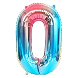DIWULI, Globos de número XL, número 0, Globos de Color Azul Iridiscente Arco Iris, Globos de número, Globos de Papel de Aluminio número no años, Apara el cumpleaños, la Fiesta, la decoración