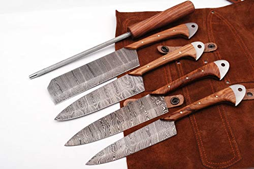 Custom Handmade Damascus Professional kitchen/BBQ knives set With Leather Roll Kit (Olivewood)