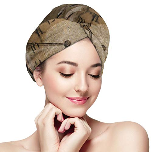 Bettiboy Time and Death Clock in Own Hands Microfiber Hair Towel Wrap for Women Super Absorbent Quick Dry Hair Turban for Drying Curly Spa Towel 28 in