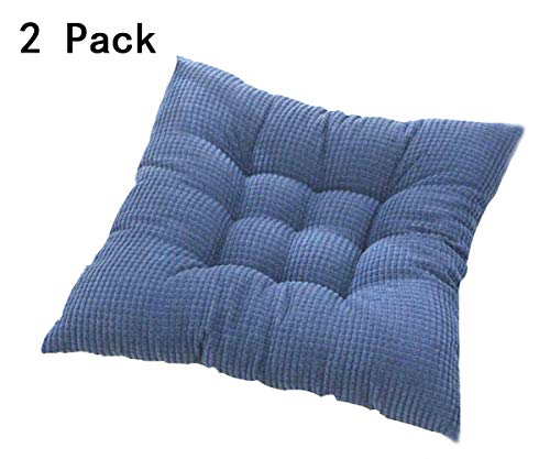 Solid Kitchen Chair Cushions Papasan Patio Seat Cushion Square Reversible Dining Chair Pads with Ties Couch Pad Set of 2 Indoor/Outdoor 15 Inch Blue