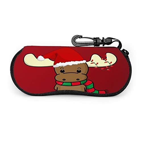 Christmas Reindeer Travel Sunglasses Glasses Case Unisex Ultra Light Portable Neoprene Eyeglass Case Pouch Zipper Box With Belt Clip (6.7x3.1in)