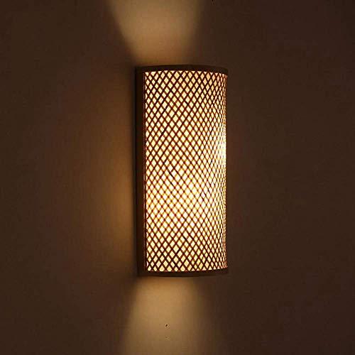 Gossttui Aplique de Pared led, bambú, Mimbre, ratán, Sombra, túnel, lámpara de...