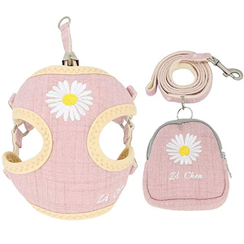 PETCARE Pet Dog Cat Harness and Leash Set with Bags Soft Mesh Cute Pink Daisy Embroidery Dog Vest Harness for Puppy Small Dogs Cats,Small