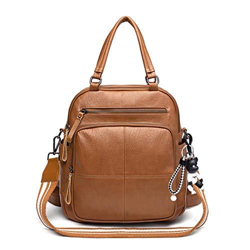 BUKESIYI Damen Tasche Rucksack Handtasche Frauen backpack Klein Anti Diebstahl Schulrucksack Laptop Weekender PU Leder CCDE78125 Braun