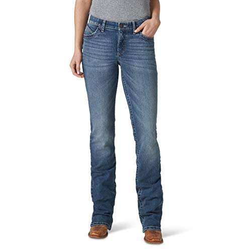 Wrangler Damen Women's Willow Mid Rise Boot Cut Ultimate Riding Jeans, Anna, 7W x 36L
