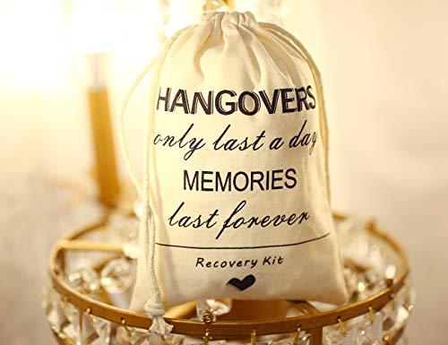 SHERWAY Hangover Kit Bag Recovery Kit Wedding Survival Kit Bag (10 Pieces, Beige, 5 x 7 Inch), Bachelorette Bachelor Party Hangover Kit Bags, Cotton Muslin Drawstring Bag