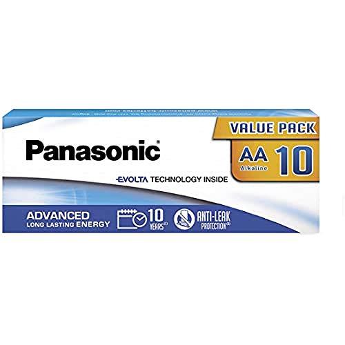 Panasonic EVOLTA TECHNOLOGY INSIDE, AA Mignon LR6, 10er Pack in plastikfreier Verpackung, 1.5V, Premium-Batterie mit langanhaltender Energie, Alkali-Batterie