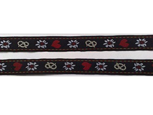 2 m Borte Trachten Wiesn Bordüre Zierband Webband Landhaus Dirndl 16 mm breit Farbe: schwarz/weiß/rot/beige