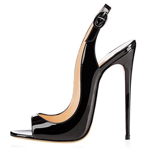 elashe Sandali con Tacco Alto - Sandali Sexy - Sandali della Cintura della Caviglia Nero EU38