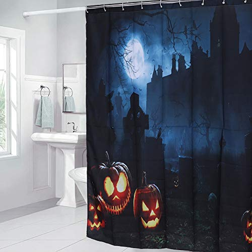 Regun Halloween-Duschvorhang, 188x188cm Halloween Themed Kürbis-Muster-wasserdicht Duschvorhang Badezimmer Supplies