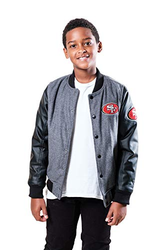 Ultra Game NFL San Francisco 49ers Youth Classic Baseball Jacket, Heather Charcoal, 18/20
