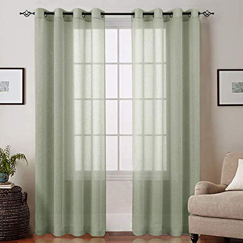 Lazzzy Voile Sheer Curtains for Living Room Grommet Top Sheer Drapes for Bedroom 2 Panels 84 Inches Sage