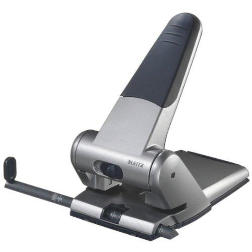 Leitz Extrastarker Registraturlocher für das Büro, 65 Blatt, Anschlagschiene mit Formatangaben, Metall, Silber, 51800084