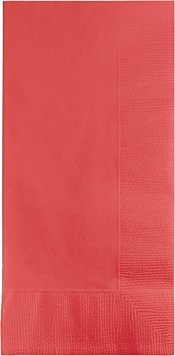 Creative Converting 50-Count Touch of Color Paper Dinner Napkins, Coral - 673146B