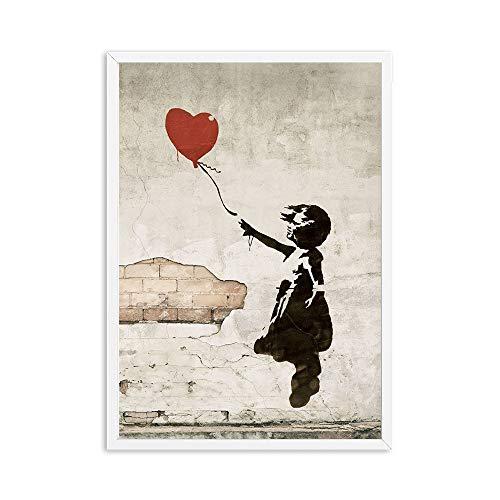 Banksy Girl With Ballon Wall Art Canvas Pósters e impresiones Pintura de lienzo Imagen decorativa para la sala de estar de oficina Decoración de la casa ( Color : 2 , Size (Inch) : 30X40cm canvas )