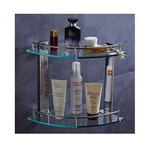 Warmiehomy 2 Ebenen Glasregal Ecke Duschregal Hängend Badorganizer für Toilette Badzimmer Gehärtetes Glas Edelstahl 25 X 25 X 27.5CM