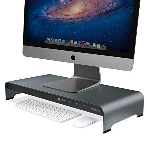Price comparison product image VAYDEER Aluminum Monitor Stand Riser with 4 USB Ports Support Data Transfer,  Keyboard and Mouse Storage Desk Organizer up to 32 inch for Computer PC Monitor and laptopsGray