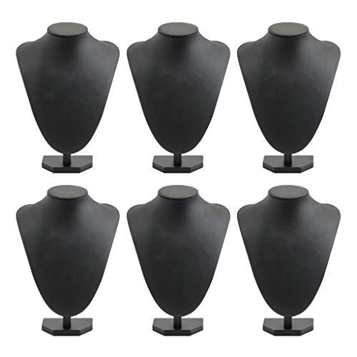 Bonarty 6 maniquíes de exhibición de joyería para mujer y niña, color negro, 21 x 16 cm