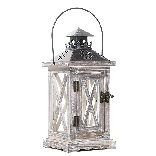 Amity Farol decorativo de madera rústico estilo europeo titular de vela para...