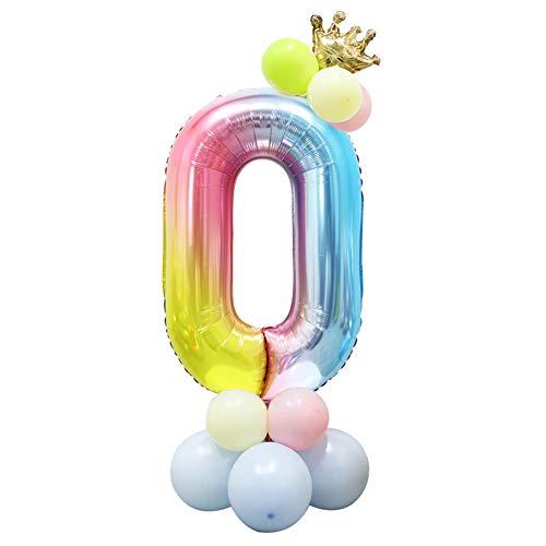 Foil Globo Número Arcoiris 24 Piezas, Gigante Numeros 40 Pulgadas Grande Globos para Cumpleaños, La Boda Aniversario, Fiesta y Hogar Decoración, Adultos y Niños (Número 0)
