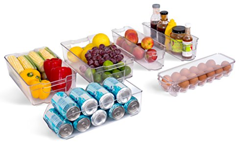 Internet's Best Kitchen Refrigerator Organizer Bins Set | Freezer Fridge Pantry Stacking Storage Containers | Clear Acrylic Holders | Holds Eggs, Soda, Fruit & Vegetables