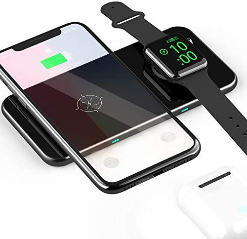 【令和進化版】2in1充電パッド Qi急速ワイヤレス充電器 Qi/PSE認証済み 10W/7.5W/5W 2台同時充電ワイヤレスチャージャー 無線充電器 超薄型 無接点 置くだけ充電 Type-C接続 無線充電アダプター 1年保証 Apple Watch Series 3/4/5, iPhone 12/12 Pro/11/11 Pro/11 Pro Max/XS/Xs Max/XR/X/s, AirPods 2,Samsung Galaxy S10+,S10,S9,S8,Note 10,9,8,Sony Xperia xz2/xz3 LG V40/V50その他Qi対応機種