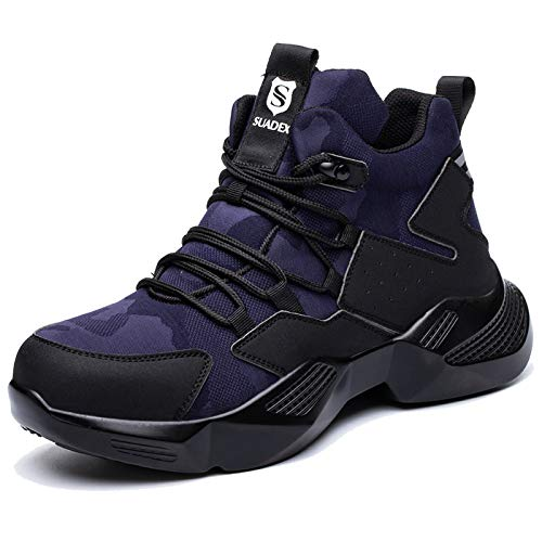 SUADEX Zapatos de seguridad para hombre y mujer, ligeros, deportivos, transpirables, con puntera de acero, 40-48 EU, color Azul, talla 48 EU
