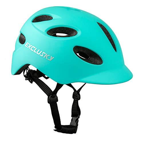 Exclusky Adult Bike Helmet, Adjustable Urban Helmet with USB Rechargeable Rear Light, Lightweight Commuter Bicycle Helmet for Men and Women, CPSC Certified