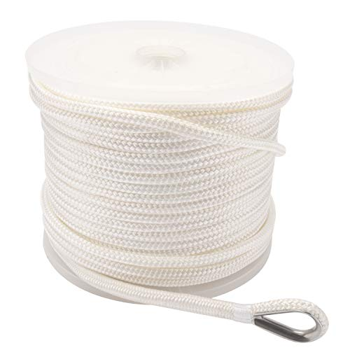 NovelBee 3/8 Inch X 300 Feet Double Braid Nylon Anchor Line with Stainless Steel Thimble and Plastic Chuck (White)