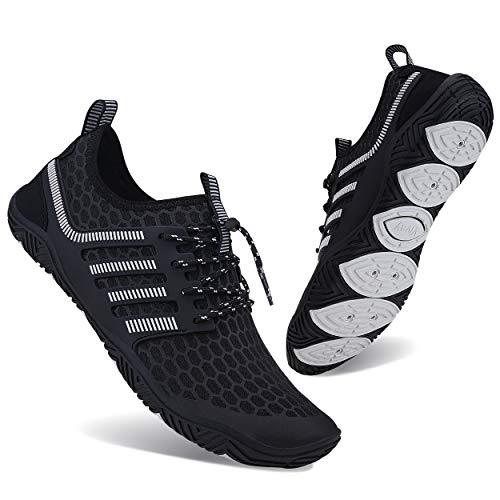 Lingmu - Zapatillas de agua unisex antideslizantes, para la playa, la natación o el surf, color Negro, talla 45 EU
