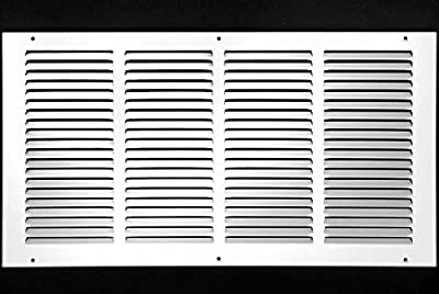 """20""""w X 8""""h Steel Return Air Grilles - Sidewall and Ceiling - HVAC Duct Cover - White [Outer Dimensions: 21.75""""w X 9.75""""h]"""