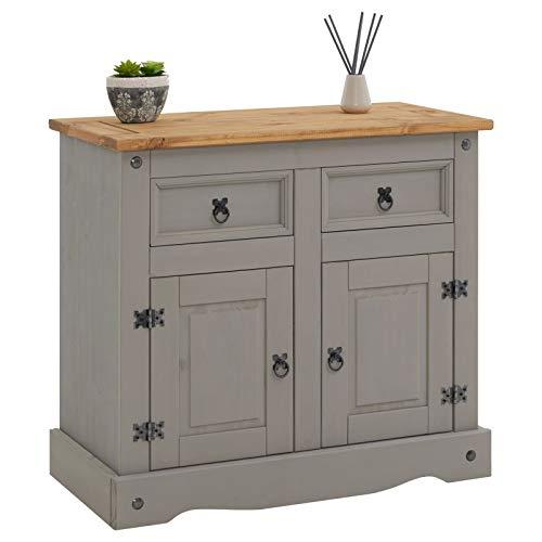 CARO-Möbel Anrichte Ramon im Mexiko Stil Kommode Sideboard Kiefer massiv mit 2 Schubladen und 2 Türen, grau/braun
