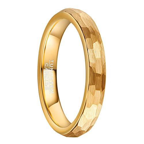 Natur Fashion - Ring Damen Mädchen Unisex Gold 4mm Gehämmert aus Wolframcarbid Verlobungsring Trauring Partnerringe Eheringe als Geschenkidee Größe 52 16,6mm