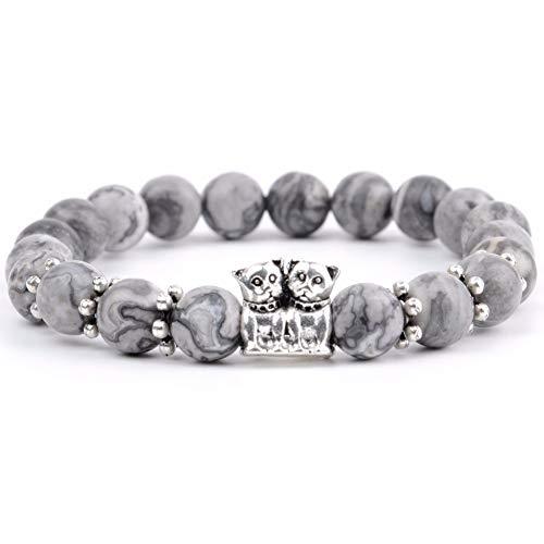 DLIAN Armband mode parels armband mannen natuurlijke zwarte agaat steen zwarte parels zilver gecoate hond dier charme armbanden & armbanden voor vrouwen vriendschap sieraden