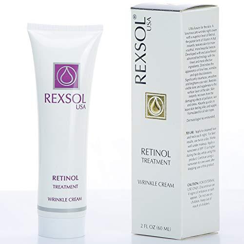 REXSOL Retinol Treatment Wrinkle Cream | Best Moisturizer for face, Anti aging eye cream, Acne treatment & Acne scar treatment | with Vitamin E | Best wrinkle cream for women & ago spot remover, 2 OZ
