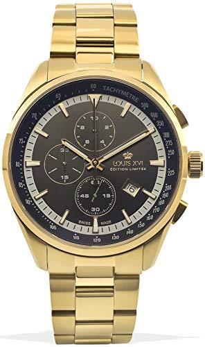 LOUIS XVI Herren-Armbanduhr Varennes Stahlband Gold Schwarz Chronograph Analog Quarz Edelstahl 914