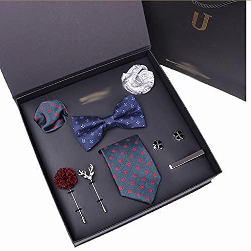 ZZABC MSLDXTPJ Corbata para Hombres Corbata Azul Seda Jacquard Tejido Bowtie Traje Caja de Regalo de Fiesta de Boda (Color : B)