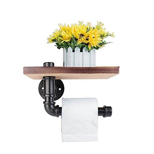 Soporte para papel higiénico Muro de almacenamiento de madera de hierro de tubería Percha de rollo de tejido