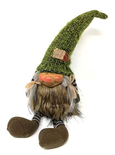 Jürgen Schleiß Konfektion Deko Figur Wichtel Gnom Zwerg grün mit Frau, Textil, 46cm, Weihnachtsdeko Herbst Weihnachtswichtel Dekofigur Winter Weihnachten Kantenhocker